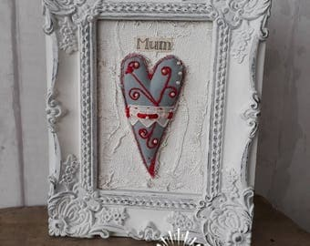 Fabric Heart in Decorative Distressed Frame Shabby Chic Mum Gift Love Token Mixed Media Birthday Mothers Day