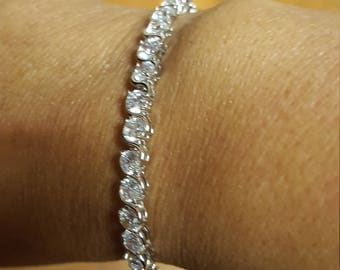 "Sterling silver tennis bracelet - 7 1/2"""