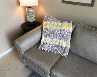 Yellow Chevron Ripple with Multi-color Speckles Baby Blanket/Afghan