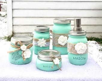 Rustic Bathroom Decor_Mason Jar Bathroom Set_Mason Jar Decor_Bathroom Set_Rustic Decor_Bathroom Storage_Mason Jar_Slate Gray & Teal