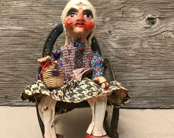 Vintage Mexican Marionette Doll - Old Lady