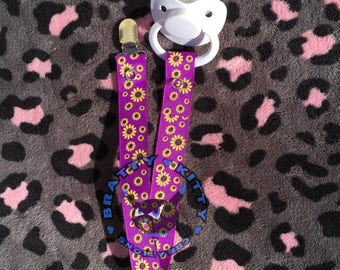 Pacifier Clip - Sunflowers on Purple Ribbon