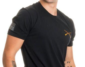 Infantry Crossed Muskets & Sleeve Flag | U.S. Military Army Veteran Branch Shirt