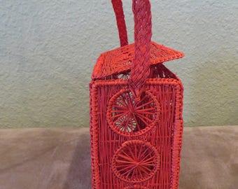 Red Handwoven Rectangular Handbag