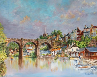 Knaresborough Waterside      Open edition giclee print.  A fine Art print from an original oil painting, by ChrisSheldrake Artist