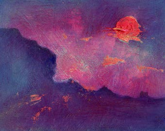 """Small Oil Painting """"Hot Sunset"""" Modern Art . 7 x 5 Framed Art. Rugged Landscape with Red Sky."""