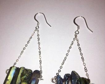 Blue Hematite .925 Sterling Silver Dangle Earrings