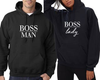 BOSS Lady Man Matching Couple Hoodie Sweet Dope Awesome Girlfriend Wife Gift HIS Hers Hoody Couple Hood Thing Valentines Hooded