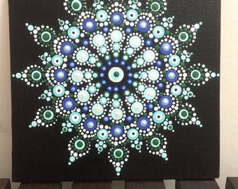 Mandala #A001  6X6 Thin Hand Painted  Mandala Canvas Dot Art