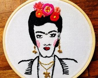 Frida Khalo embroidered portrait