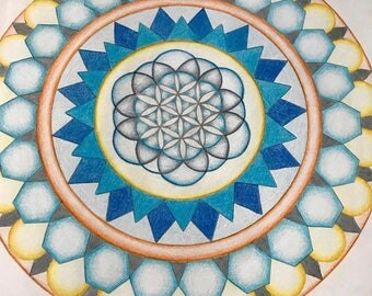 Handmade Flower of Life solar plexus mandala