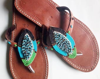 African sandal, beaded sandal,masai sandal, leather sandal,gift for her,women sandal,kenyan sandal