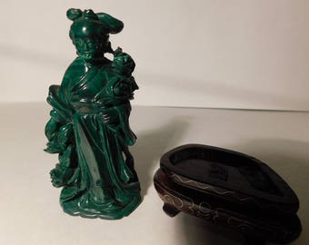 Malachite Woman with Roses
