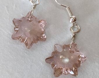 Swarovski Edelweiss Earrings -vintage rose-
