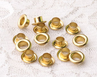 grommets eyelets 100pcs 8*3.5*3.5mm metal eyelets grommets round gold grommets for clothes shoes leather canvas making