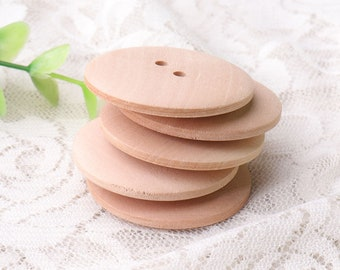 natural wood buttons 6pcs 35mm diameter 2 hole sewing wooden buttons smooth buttons two same side for women's coat