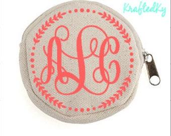 Monogram Round Zipper Pouch