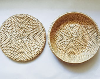 Woven Basket With Lid.