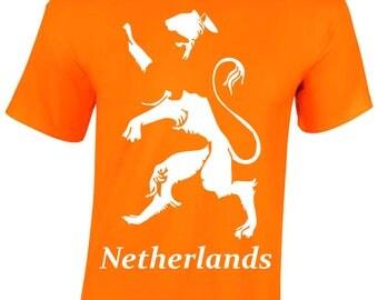 Netherland Lion Men's T-Shirt, Gifts, Fan's T-shirt, Orange, NL
