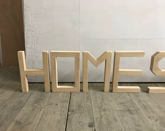Large Handmade Solid oak letters spelling HOME