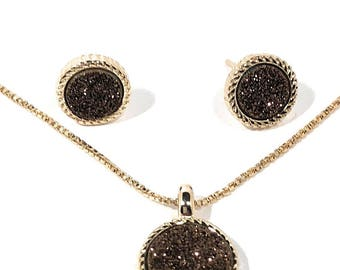 18k Gold Plated Set Agate Chocolate Drusy Necklace and Earrings