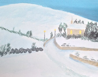 Tinahely Church Snow Scene Landscape Painting
