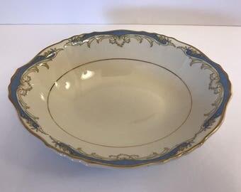 """Vtg CARVEL 9"""" Oval Vegetable Serving Bowl Dish Federal Shape Syracuse Blue Gold"""
