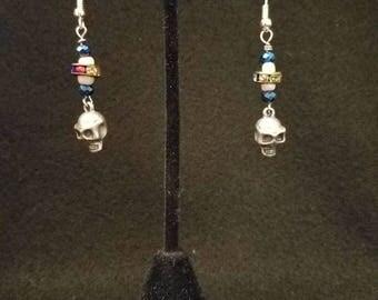 Silver Skull Dangle Earrings
