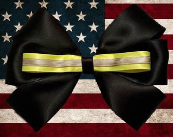 Firefighter Black Bunker Gear Hair Bow