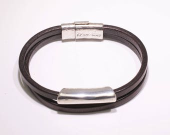 Leather bracelet, unisex, silver, different, silver, special