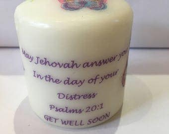 Personalised Get Well Candle for Jehovah's Witnesses