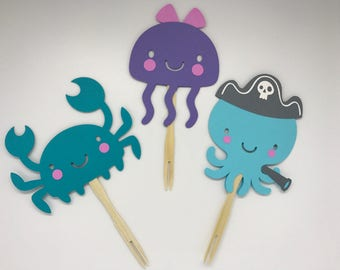 Under the Sea Cupcake Toppers - Baby Shower - First Birthday - Decorations