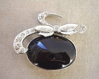 Vintage Black Glass Cabochon & Diamante Pendant Brooch