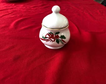 Victorian Holiday Poinsettia Sugar Bowl