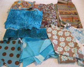 Stash-Buster Teal Cotton Quilting Fabric Scraps