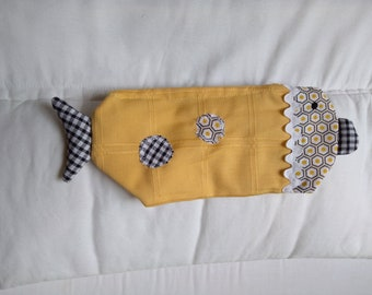 Kit cloth fish, school bag, home school, yellow and gray