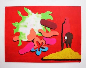 Original abstract acrylic painting on panel, medium size, horizontal and bright: 'Cllge=convrstin'