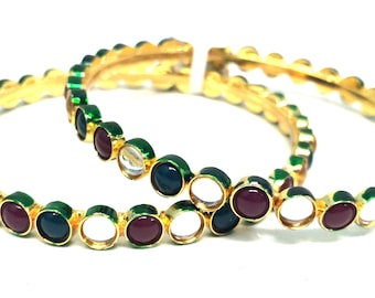Kundan,Green and Red bead bangles