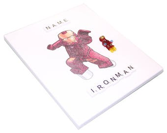 Personalised Customised with NAME Lego IRONMAN Marvel Avengers Superhero 3D Art Wall Canvas Frame Hanging Style#1
