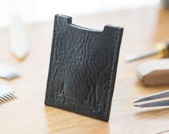 Horween leather card holder wallet UK - multi card - no coin - cardholder - card holder - linen