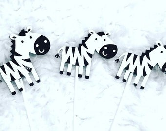 Zebra Cupcake Toppers (Set of 12)