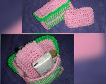 Cute purse/eyeglass case.  Acrylic and washable. Button closure.