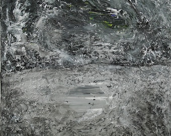 Abstract Painting, Original painting, acrylic on canvas, acrylic painting, original abstract, Night time at the pond