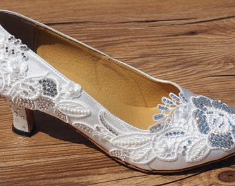 Wedding Shoes Bridal Shoes Ballroom Dance Shoes with Swarovski Crystals Pearls Lace Custom W002