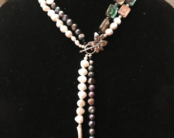 Freshwater Pearls & Paua Shells Necklace