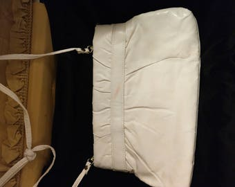 1980's White Clutch with Strap