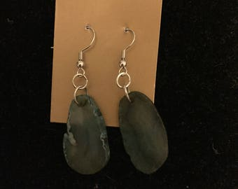 handmade blue agate earrings