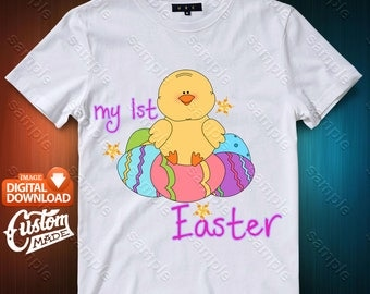 Easter Chick Iron On Transfer, Easter Chick Birthday Shirt DIY, Easter Chick Printable, Personalize, Digital Files