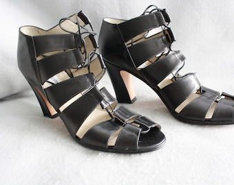 Via Spiga Summer Black Strappy Heels w/ Box   Women's Size 10    Made In Italy