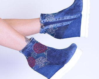 Women's shoes with wedge heel zipper jeans fabric denim handmade boots roses boats spring Summer shoes